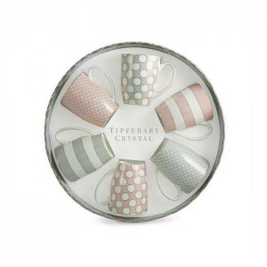 Set 6 Bone China Mugs - Spots & Stripes Party Pack