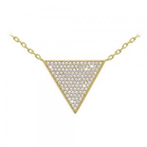 Gold Pave Set Triangle Pendant