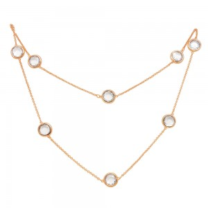 Rose Gold Necklace With Clear Stones