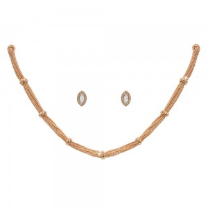 Rose Gold Chain Necklace And Earrings