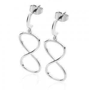 Large Infinity Drop Earrings Silver