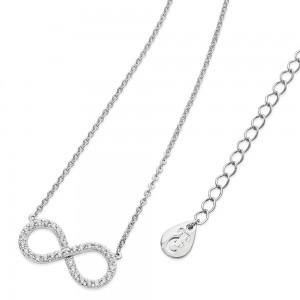 Stone Set Infinity Pendant Silver