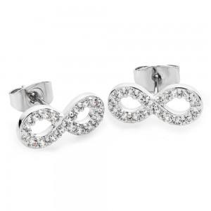Stone Set Infinity Stud Earrings Silver