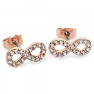 Stone Set Infinity Stud Earrings Rose Gold