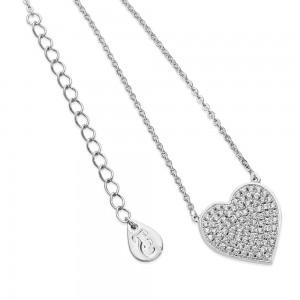 Pave Heart Pendant Silver