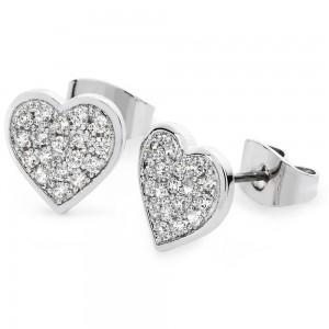 Pave Heart Earrings Silver