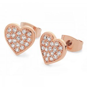 Pave Heart Earrings Rose Gold