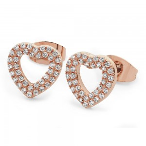 Double Pave Heart Earrings Rose Gold
