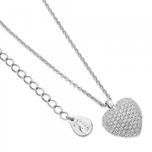 Cushion Pave Heart Pendant Silver