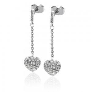 Cushion Pave Heart Earrings Silver