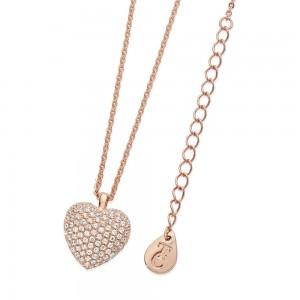 Cushion Pave Heart Pendant Rose Gold