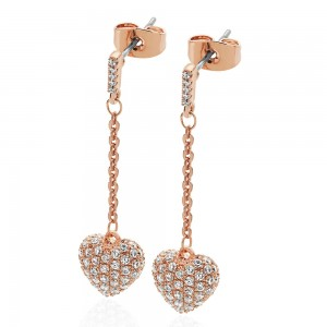Cushion Pave Heart Earrings Rose Gold