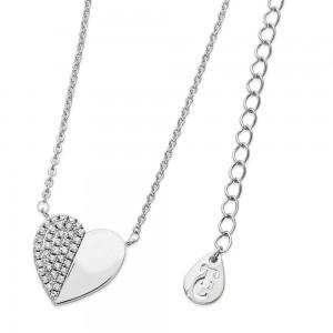 Demi Pave Heart Pendant Silver