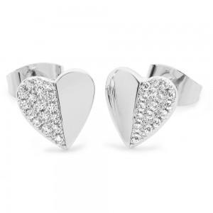 Demi Pave Heart Earrings Silver