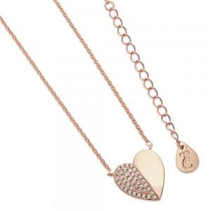 Demi Pave Heart Pendant Rose Gold