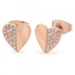 Demi Pave Heart Earrings Rose Gold