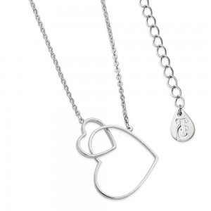 Contemporary Floating Heart Pendant Silver
