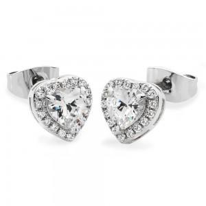 Diamante Heart Drop Earrings Silver