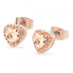 Diamante Heart Drop Earrings Rose Gold