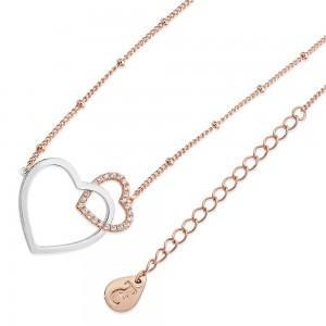 Sparkling Interlinked Hearts Pendant Rose Gold