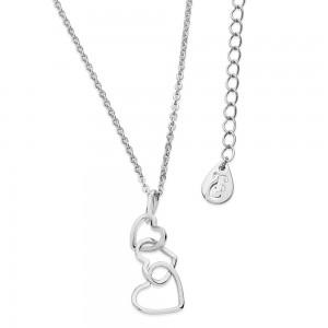 Triple Heart Drop Pendant Silver