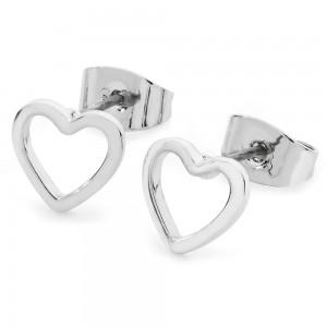 Triple Heart Drop Earrings Silver