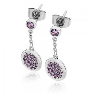 Lavendar Double Moon Drop Earrings Silver