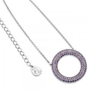 Lavendar Hollow Moon Pendant Silver