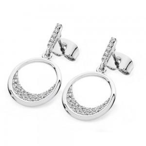White Floating Moon Earrings Silver