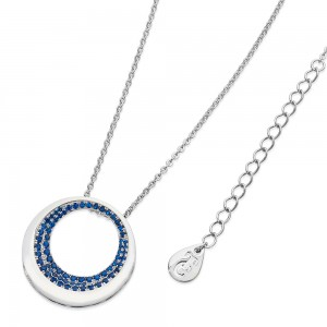 Blue Emerging Moon Pendant Silver