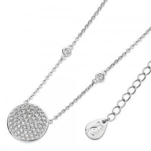 Concave Pave Moon Pendant Silver