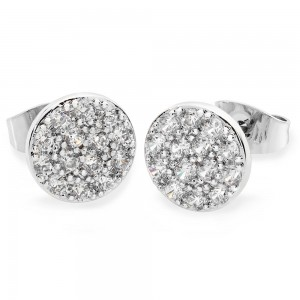 Concave Pave Moon Earrings Silver