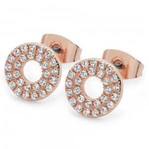 Pave Triple Band Moon Earrings Rose Gold