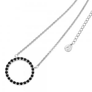 Black Diamond Moon Pendant Silver