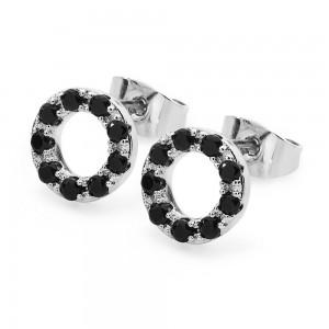Black Diamond Moon Earrings Silver