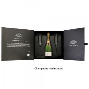 Connoisseur Two Flutes Gift Box Set & Space for Champagne Bottle