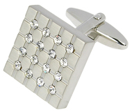 Square Cufflink with Crystal Covering