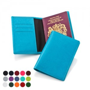 Deluxe Passport Cover with a pocket to hold the passport and slots for travel, credit or health cards.