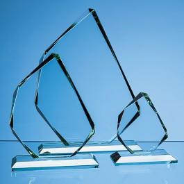 28cm x 20.5cm x 15mm Jade Glass Facetted Ice Peak Award