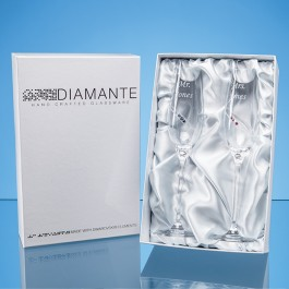 2 'His & Hers' Diamante Champagne Flutes with Orbital Design in a Satin Lined Gift Box