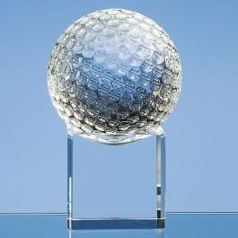 8cm Optical Crystal Golf Ball on a Clear Crystal Base