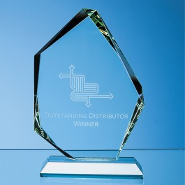 15cm x 10.5cm x 19mm Jade Glass Facetted Ice Peak Award