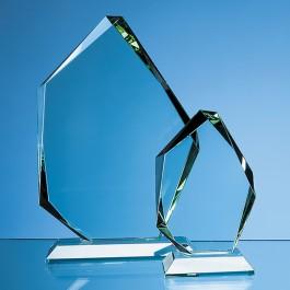 25cm x 18cm x 19mm Jade Glass Facetted Ice Peak Award