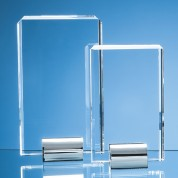 20cm Optical Crystal Rectangle mounted on a Chrome Stand