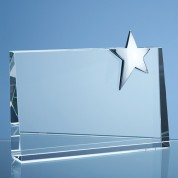 20cm Optical Crystal Horizontal Rectangle with Silver Star