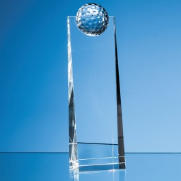 24cm Optical Crystal Golf Ball Rectangle Award