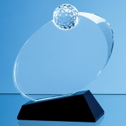16cm Optical Crystal Golf Ball Award Mounted on an Onyx Black Base