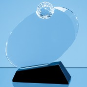 17cm Optical Crystal Golf Ball Award Mounted on an Onyx Black Base