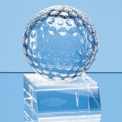6cm Optical Crystal Golf Ball Mounted on a Clear Crystal Base
