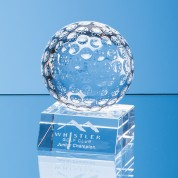 8cm Optical Crystal Golf Ball Mounted on a Clear Crystal Base
